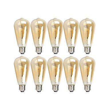 billige Elpærer-10pcs 4 W LED-glødepærer 360 lm E26 / E27 ST64 4 LED perler COB Mulighet for demping Varm hvit 220-240 V 110-130 V