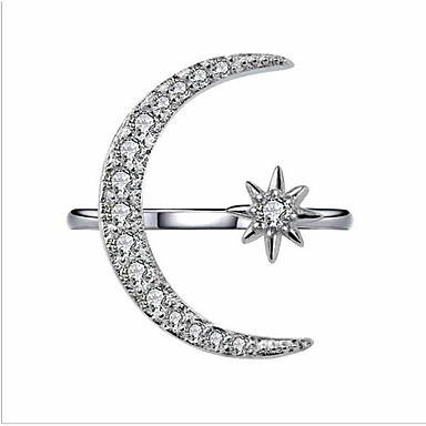 26a22fb1a Women's Cubic Zirconia Classic Open Ring Gold Plated Crescent Moon Fashion Ring  Jewelry Gold / White For Wedding Party Adjustable