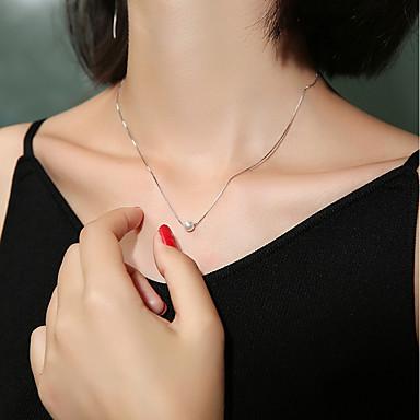 abordables Collier-Collier Femme Perle d'eau douce Perle S925 argent sterling simple Small Blanche 40 cm Colliers Tendance Bijoux 1pc pour Cadeau Quotidien