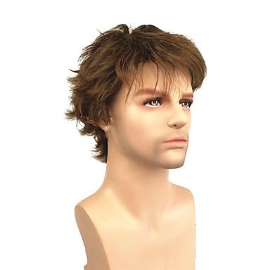 פאות סינתטיות ישר סגנון פיקסי קאט ללא מכסה פאה חום בהיר חום כהה / בינוני אובורן שיער סינטטי 4 אִינְטשׁ בגדי ריקוד גברים סינטטי חום בהיר פאה קצר 130% צפיפות שיער אנושית פאה טבעית