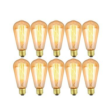 billige Elpærer-10pcs 40 W E26 / E27 ST64 Varm hvit 2700-3200 k Mulighet for demping Glødende Vintage Edison lyspære 220-240 V / 110-130 V