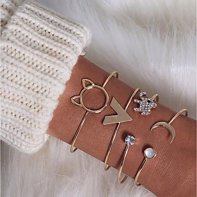 abordables Bracelet-4pcs Manchettes Bracelets Parure Bracelet Femme Strass Eléphant Chat Lune Elégant Classique Bracelet Bijoux Dorée pour Quotidien