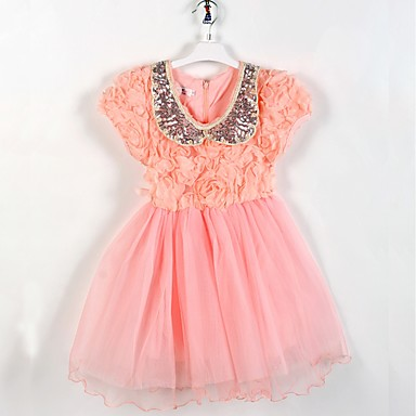 Χαμηλού Κόστους Φορέματα για κορίτσια-Παιδιά Νήπιο Κοριτσίστικα Βασικό χαριτωμένο στυλ Μονόχρωμο Φλοράλ Πούλιες Patchwork Κοντομάνικο Ως το Γόνατο Βαμβάκι Πολυεστέρας Φόρεμα Ανθισμένο Ροζ
