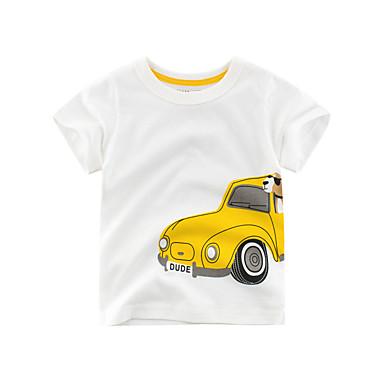baratos Camisas para Meninos-Infantil Para Meninos Básico Estampado Manga Curta Blusa Bege
