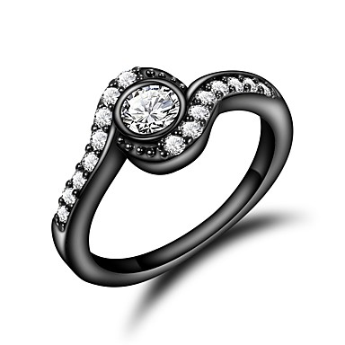 d36b594f48ba Mujer Claro Zirconia Cúbica Clásico Anillo Anillo de compromiso Chapado en  oro 18K Diamante Sintético Elegante