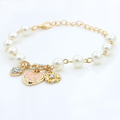 billige Motearmbånd-Dame Perlearmbånd Perler Koreansk søt stil Elegant Imitert Perle Armbånd Smykker Gull Til Fest Engasjement Gave Ut på byen Valentine
