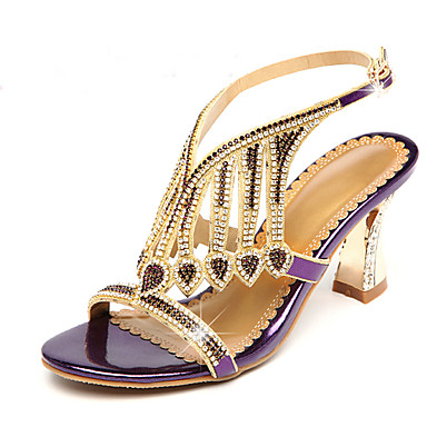 5fc93901a Women s Microfiber Spring   Summer Sandals Chunky Heel Open Toe Rhinestone    Sparkling Glitter Gold   Black   Purple   Party   Evening