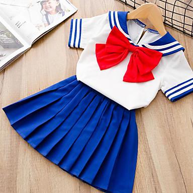 baratos Conjuntos para Meninas-Infantil Para Meninas Activo Moda de Rua Listrado Retalhos Laço Patchwork Manga Curta Padrão Conjunto Azul