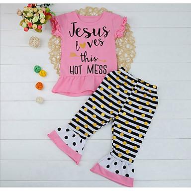 5b53ed91d Baby Girls' Active / Basic Polka Dot / Striped / Print Print Short Sleeve  Regular Regular Cotton Clothing Set Blushing Pink / Toddler