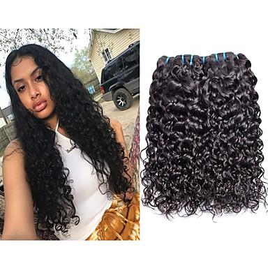 voordelige Weaves van echt haar-4 bundels Braziliaans haar Watergolf Onbehandeld haar Menselijk haar weeft Bundle Hair Een Pack Solution 8-28inch Natuurlijke Kleur Menselijk haar weeft Schattig Modieus Design Geschenk Extensions