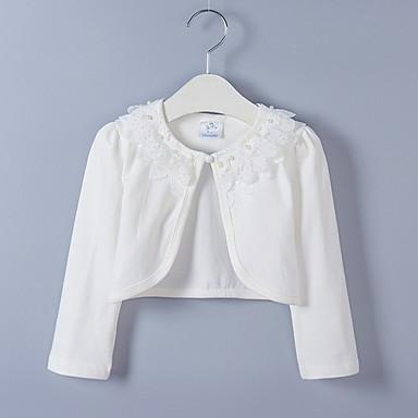 baratos Blusas para Meninas-Infantil Para Meninas Moda de Rua Sólido Manga Longa Blusa Branco