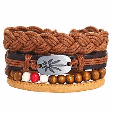 voordelige Herensieraden-4pcs Heren Lederen armbanden Retro gevlochten Bladvorm Uniek ontwerp Hip-hop PU Armband sieraden Koffie Voor Lahja Dagelijks