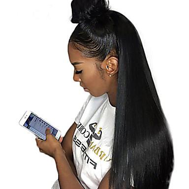 abordables Perruques Naturelles Dentelle-Perruque Cheveux Naturel humain Lace Frontale Cheveux Malaisiens Droite naturelle Naturel Séparation profonde Partie latérale 250% avec des cheveux de bébé Cadeau Grosses soldes Confortable Noir