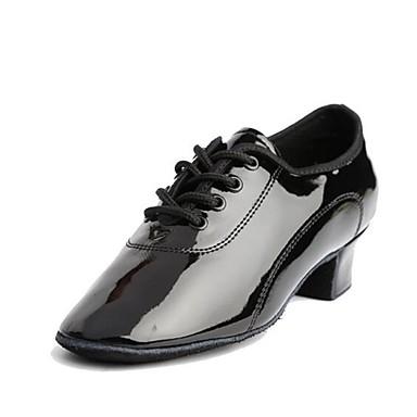 bd1a400d4e4 Αγορίστικα Παπούτσια χορού λάτιν Φο Δέρμα Τακούνια Πυκνό τακούνι  Εξατομικευμένο Παπούτσια Χορού Μαύρο