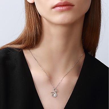 abordables Collier-Collier Femme S925 argent sterling Cygne Mode Small Blanche 42+3 cm Colliers Tendance Bijoux 1pc pour Cadeau Quotidien