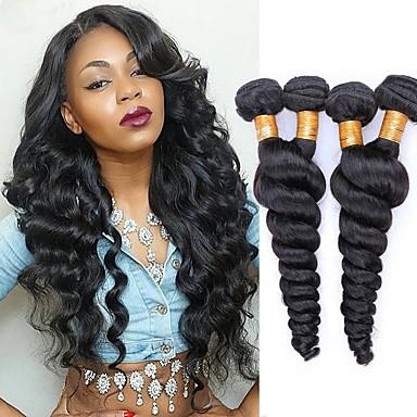 4 pakker malaysisk hår Løst, bølget hår Jomfruhår Hovedstykke Menneskehår, Bølget Bundle Hair 8-28 inch Sort Naturlig Farve Menneskehår Vævninger Lugtfri Silkeagtig Sikkerhed Menneskehår Extensions