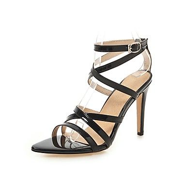 e210c3c39bae Women s PU(Polyurethane) Spring   Summer Minimalism Sandals Stiletto Heel  Open Toe Buckle Black   Yellow   Blue   Party   Evening