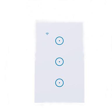 abordables Interrupteur Connecté-STEPHANIE Interrupteur intelligent CD303 pour Salon Elégant / Contrôle de l'APP / Utilisation sans fil Wi-Fi 110-240 V