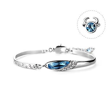halpa Naisten korut-Naisten Tummansininen Kristalli Rannerengas Crystal Rannekoru Geometrinen Taurus Yksinkertainen Korea Muoti söpö tyyli Tyylikäs Metalliseos Rannekorun korut Sininen Käyttötarkoitus Syntymäpäivä Lahja