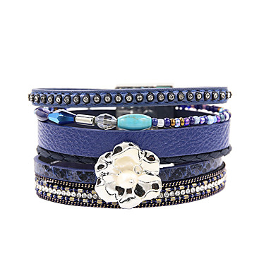abordables Bracelet-Bracelets en cuir Femme Multirang Pétale Elégant Bohème Bracelet Bijoux Bleu de minuit pour Cadeau Quotidien Entraînement Soirée Anniversaire