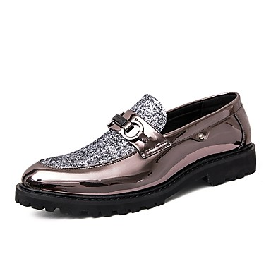 cheap Men's Silver Loafers-Men's Formal Shoes Leather / Faux Leather Spring & Summer Classic / British Loafers & Slip-Ons Height-increasing Color Block Gold / Black / Silver / Wedding / Party & Evening