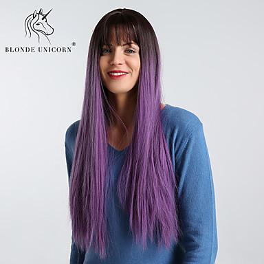 Парики из искусственных волос Естественные прямые / Естественный прямой Стиль С чёлкой Без шапочки-основы Парик Фиолетовый Черныйлиловый Искусственные волосы 28 дюймовый Жен. / Природные волосы
