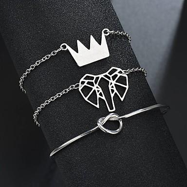 baratos Pulseira de Corrente-Mulheres Enrole Pulseiras De amarrar Cruza o Corpo Elefante Coroa Simples Na moda Fashion Liga Pulseira de jóias Prata Para Diário Escritório e Carreira