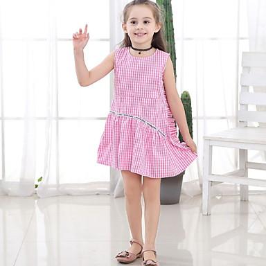 baratos Vestidos para Meninas-Infantil Para Meninas Houndstooth Vestido Rosa