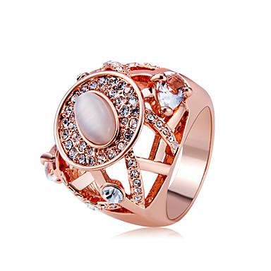 7a6a8643a94a Mujer Claro Cristal Piedra lunar Anillo de declaración Anillo Cobre Rosa Oro  Plateado Diamante Sintético Artístico ...