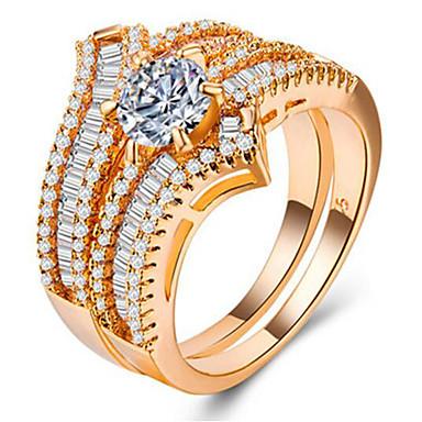 billige Motering-Dame Ring Set / Micro Pave Ring Kubisk Zirkonium 2pcs Gull / Sølv / Rose Gull Kobber / Gullbelagt Geometrisk Form Unikt design / Europeisk / Romantikk Bryllup / Gave / Stevnemøte Kostyme smykker