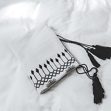 Sofá Jogue / Cobertores Multifuncionais, Listrado / Clássico / Preto e Branco Tricô / Algodão Aquecedor Borla Macio cobertores