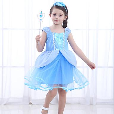 Cinderella Prenses Elbiseler Genç Kız Film Kostümleri Desen Elbise Mavi Elbise Çocukların Günü Maskeli Balo Karışık Materyal