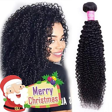 voordelige Weaves van echt haar-4 bundels Braziliaans haar Kinky Curly Mensen Remy Haar Menselijk haar weeft Bundle Hair Een Pack Solution 8-28inch Natuurlijke Kleur Menselijk haar weeft Eenvoudig Geurvrij Modieus Design Extensions