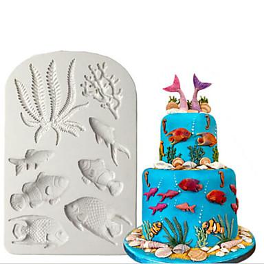 halpa Leivontavälineet-3d silikonimuotti meri fondant kakku koristavat meritähti kuori suklaa gumpaste hometta