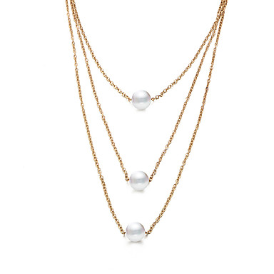 d1049c09c Women's Layered Necklace Layered Simple Classic Elegant Imitation Pearl  Chrome Gold 34+7 cm Necklace