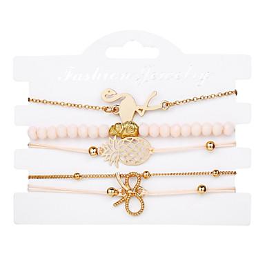 abordables Bracelet-5pcs Parure Bracelet Femme Multirang Papillon Ananas Elégant Branché Bracelet Bijoux Dorée pour Cadeau Plein Air