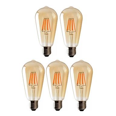 billige Elpærer-5pcs 8 W LED-glødepærer 720 lm E26 / E27 ST64 8 LED perler COB Mulighet for demping Varm hvit 220-240 V 110-130 V / RoHs