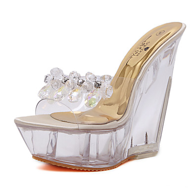 cheap Women's Shoes New Arrivals-Women's PU(Polyurethane) Summer Sandals Wedge Heel Open Toe Crystal Gold / Party & Evening