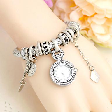 baratos Relógios Senhora-Mulheres Bracele Relógio Casual Fashion Preta Branco Azul Couro PU Chinês Quartzo Prata Vermelho Rosa Fofo Relógio Casual Analógico