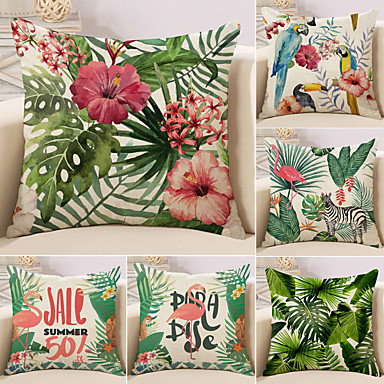 billige Putevar-6 stk Bomull / Lin Putevar, Trær / Blader Flamingo Blomstermønster Middelhavet Tropisk
