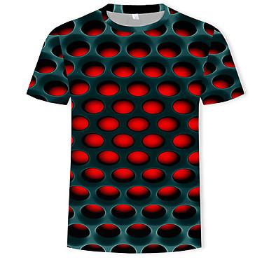 povoljno Holidays-Majica s rukavima Muškarci - Ulični šik / pretjeran Ležerno / za svaki dan / Plus veličine Color block / 3D Okrugli izrez Print Crvena XXXXL / Kratkih rukava