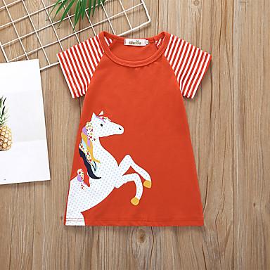 baratos Vestidos para Meninas-Infantil Bébé Para Meninas Básico Estilo bonito Unicorn Listrado Animal Patchwork Estampado Manga Curta Acima do Joelho Vestido Vinho / Algodão