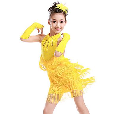 Danse latine / Tenues de Danse pour Enfants Robes Fille Entraînement / Utilisation Polyester Gland / Cristaux / Stras Sans Manches Robe / Gants