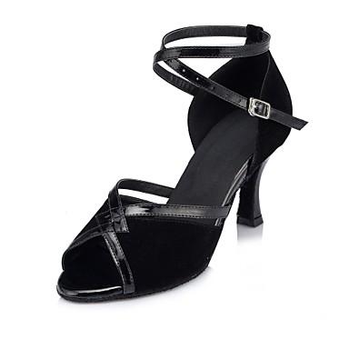 نسائي نايلون أحذية رقص ربط كعب نحيفة عالية الكعب مخصص أسود / أداء / جلد