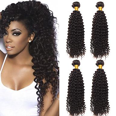 baratos Extensões de Cabelo Natural-4 pacotes Cabelo Brasileiro Kinky Curly Não processado Cabelo Natural 100% Remy Hair Weave Bundles Peça para Cabeça Cabelo Humano Ondulado Cabelo Bundle 8-28 polegada Natural Tramas de cabelo humano
