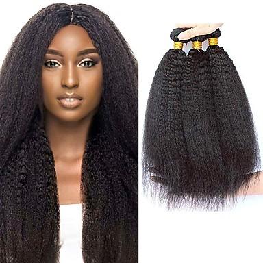 baratos Extensões de Cabelo Natural-4 pacotes Cabelo Brasileiro Kinky Liso Cabelo Virgem Cabelo Humano Ondulado Cabelo Bundle Um Pacote de Solução 8-28inch Côr Natural Tramas de cabelo humano Fofinho Fofo Criativo Extensões de cabelo