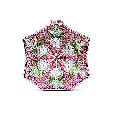 billige Vesker-Dame Krystalldetaljer / Uthult Legering Aftenveske Rhinestone Crystal Evening Bags Landskap Blå / Fuksia / Lys Lilla / Høst vinter