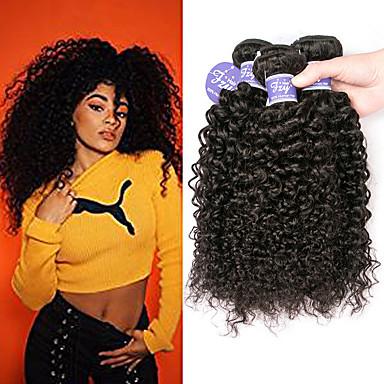 voordelige Weaves van echt haar-3 bundels Indiaas haar Kinky Curly Onbehandeld haar 100% Remy haarweefselbundels Menselijk haar weeft Bundle Hair Extentions van mensenhaar 8-28 inch(es) Naturel Menselijk haar weeft Zijdeachtig