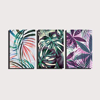 Painettu Valssatut kangasjulisteet Pingoitetut kanvasprintit - Kasvitiede Kukkakuvio / Kasvitiede Moderni 3 paneeli Art Prints