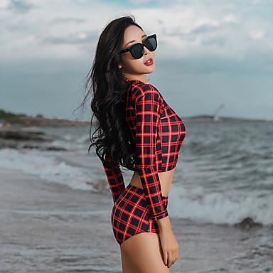 Naisten Rashguard-uimapuku Uima-asut Pidä lämpimänä Pitkähihainen Etuvetoketju 3-osainen - Uinti Patchwork Kesä / Elastinen